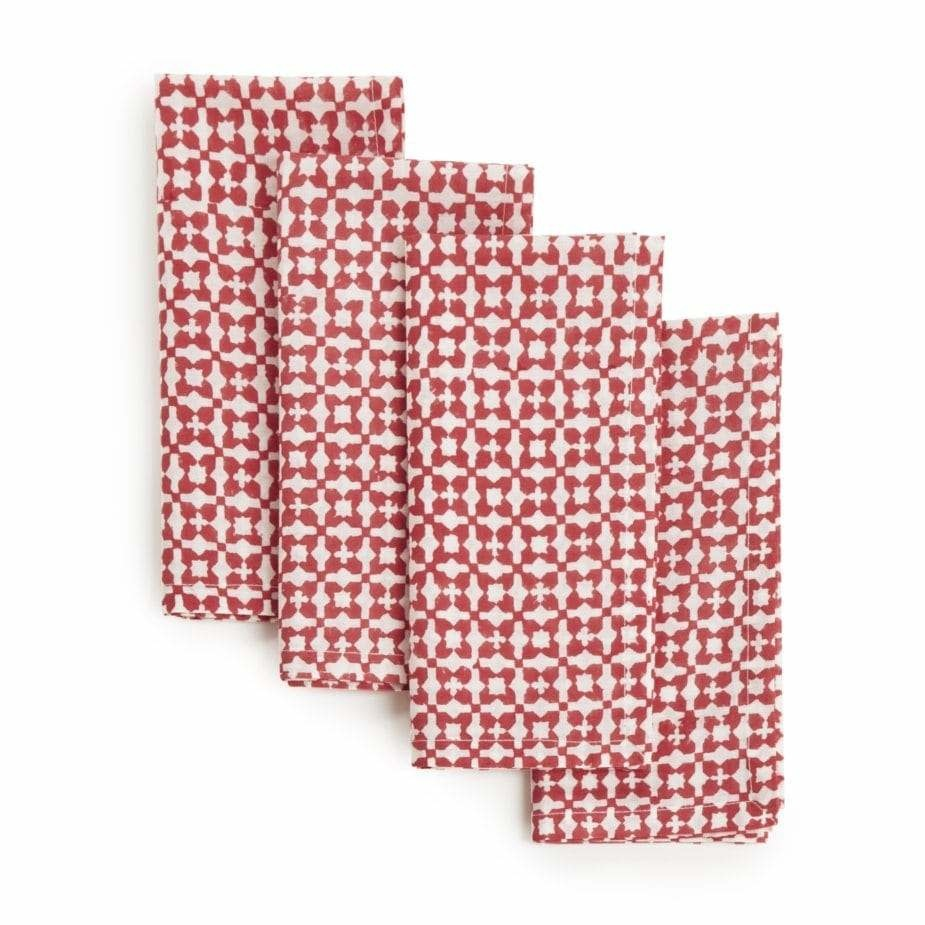"""Sustainable Threads Hand Block Printed Napkins, 18"""" x 18"""" Set of 4 - Cheery Red"""