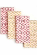 "Sustainable Threads Hand Block Printed Napkins, 18"" x 18"" Set of 4 - Cheerful  Red/Orange"
