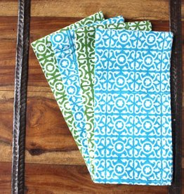 Sustainable Threads Hand Block Printed Napkins, Set 4 - Lattice Blue/Green