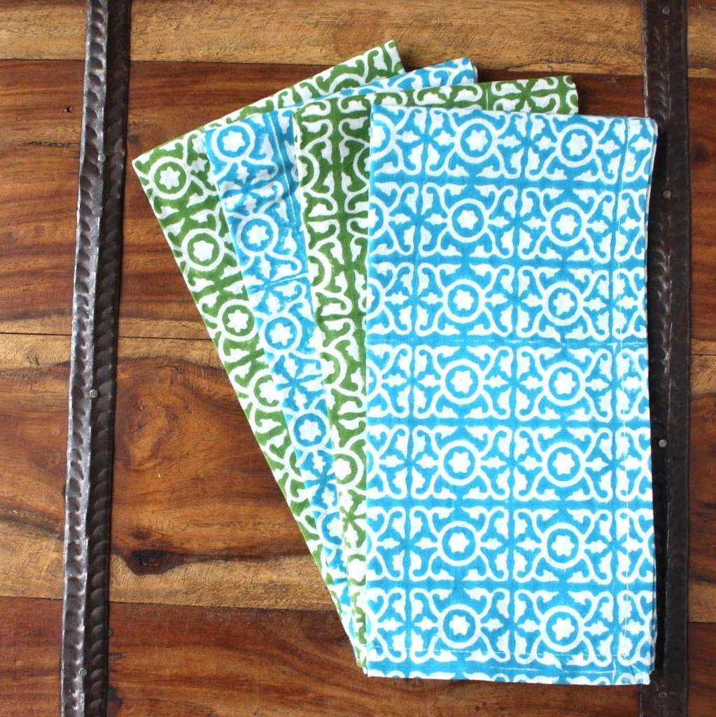 Sustainable Threads Hand Block Printed Napkins, Set 4 - Lattice Blue/Green
