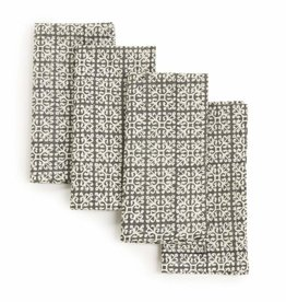 "Sustainable Threads Hand Block Printed Napkins, 18"" x 18"" Set of 4 - Dove Grey"