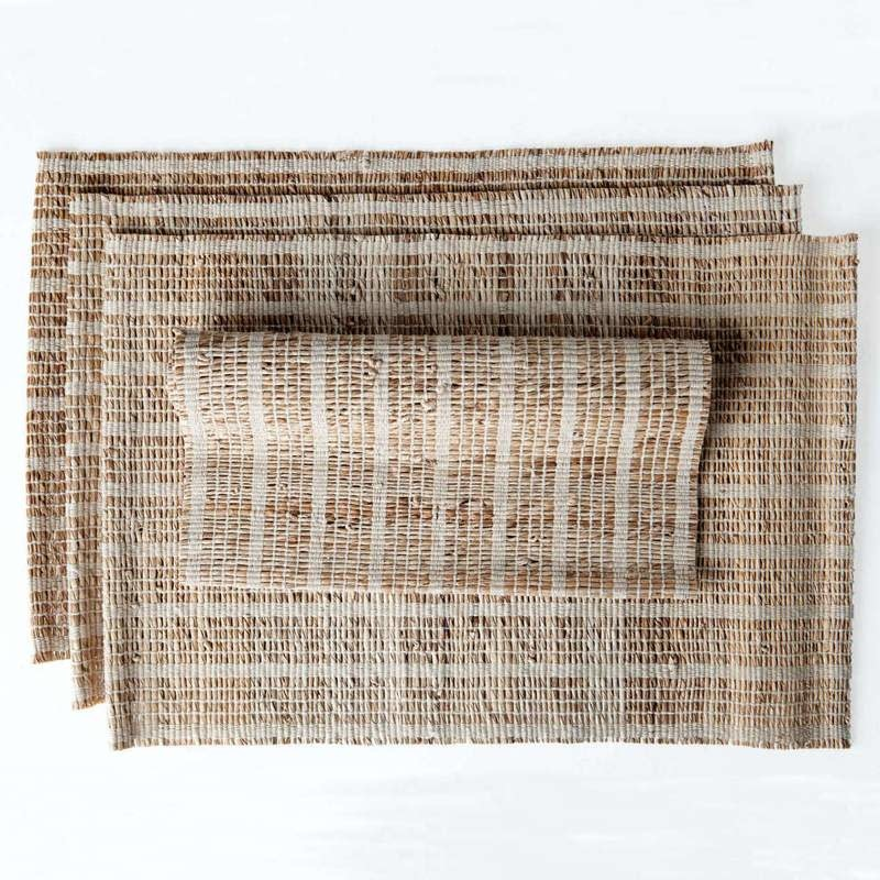 """Sustainable Threads Banana Bark and Cotton Placemat, 13"""" x 19""""  - Madeleine"""