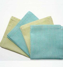 "Sustainable Threads Hand Woven Napkins, 9"" x 9"" Set of 4 - Almond Blossom Blue/Green Stripe"