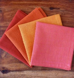 "Sustainable Threads Hand Woven Napkins, 9"" x 9"" Set of 4 - Sunrise Red/Orange Stripe"