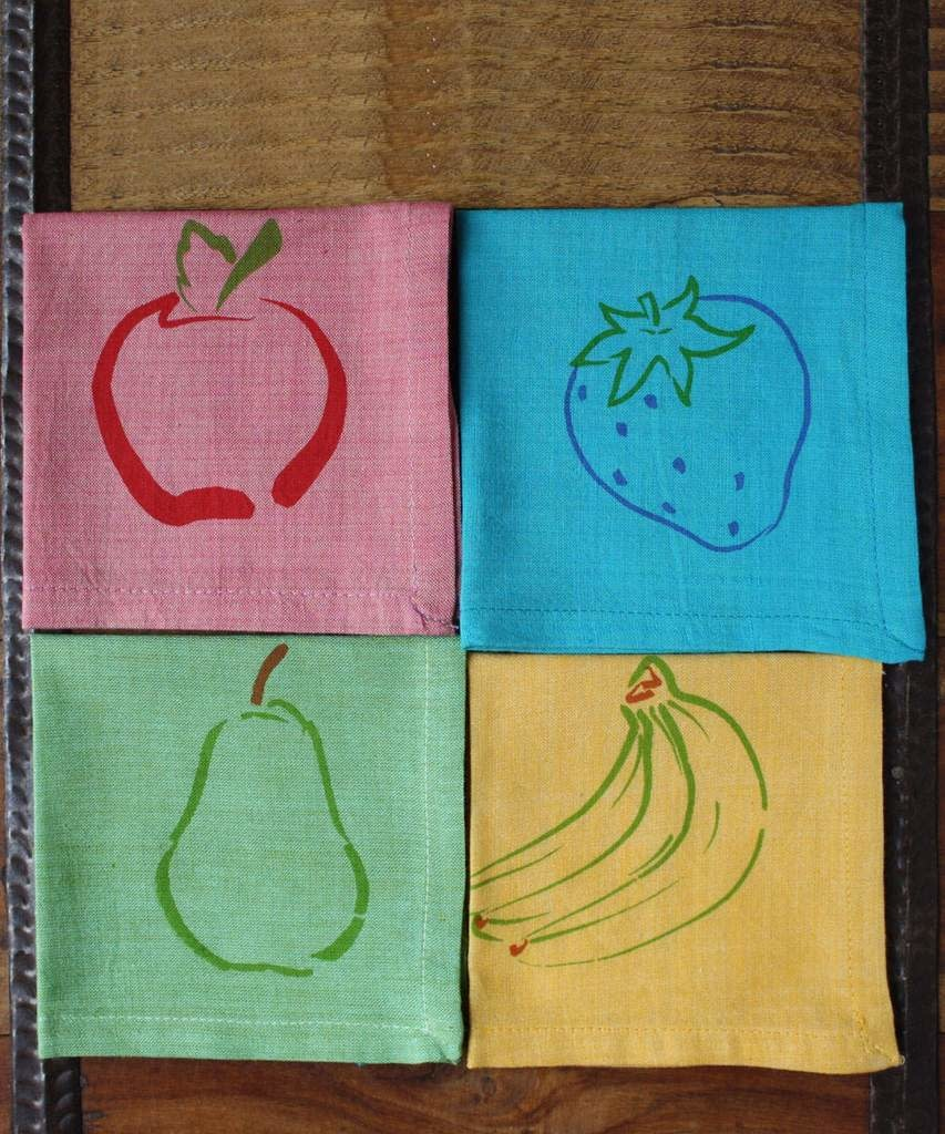 "Sustainable Threads Printed Cotton Napkins, 9"" x 9""  - Fruit Primary"