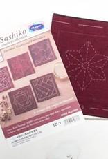 EmmaCreation Craft Gala Sashiko Pre-printed Tsumugi Cloth - Red