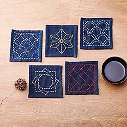 EmmaCreation Craft Gala Sashiko Pre-printed Tsumugi Cloth - Navy Blue