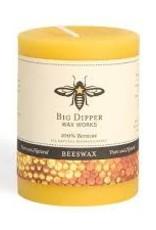 "Big Dipper Wax Works Beeswax Pillars, 3"" X 3.5"" - Natural (60 Hr. Burn)"