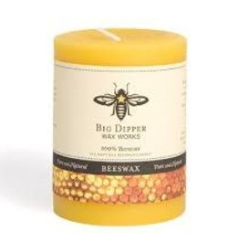 "Big Dipper Wax Works Beeswax Pillars, 3"" X 3.5"" - Natural (60 Hr. Burn)"