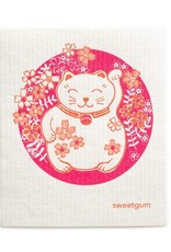 Sweetgum Lucky Pink Kitty DIshcloth