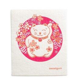 Sweetgum Lucky Pink Kitty DIshcloth