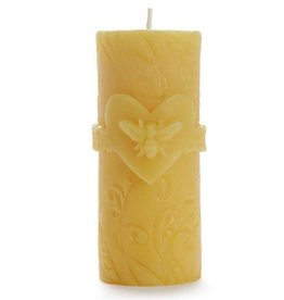 "Big Dipper Wax Works Beeswax Pillar, 2"" x 4.75"" - Bee Love"