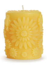 "Big Dipper Wax Works Beeswax Pillar, 3"" x 4"" - Floral"