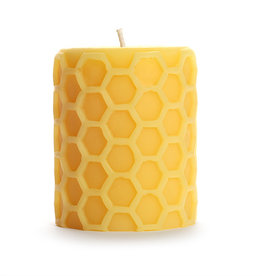 "Big Dipper Wax Works Beeswax Pillar, 2"" x 3.5"" - Honeycomb"