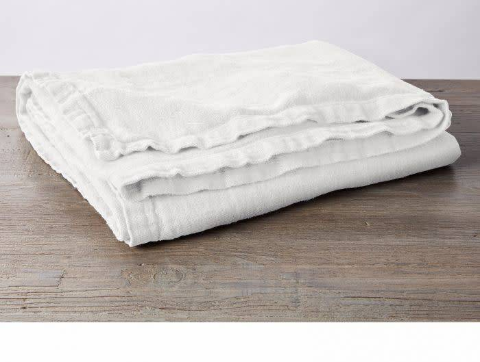 "Coyuchi Larkspur Linen Throw, 50"" x 70"" - White"