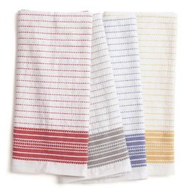 "Coyuchi Pickstitch Kitchen Towel, 20"" x 30"", Set of 4,  - Multicolor Border"