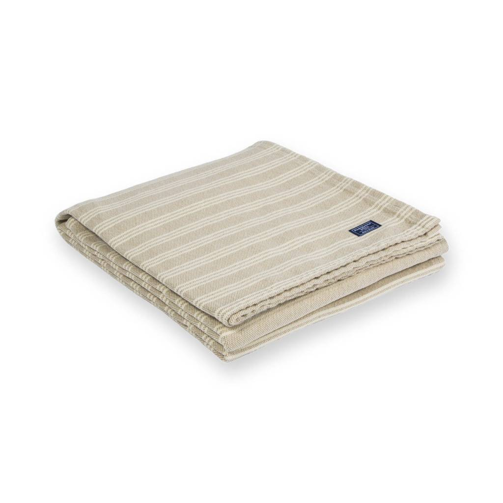 Faribault Woolen Mill Co. Beacon Stripe Cotton Throw - Beige