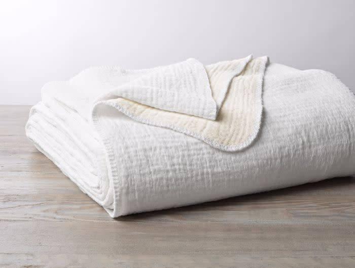 """Coyuchi Cozy Cotton Blanket Throw, Organic Cotton, 50"""" x 70"""" - Alpine White"""