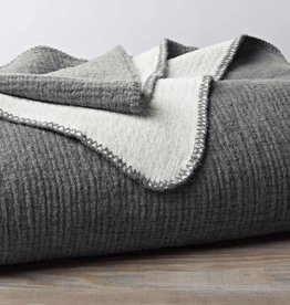 "Coyuchi Cozy Cotton Blanket Throw, 50"" x 70"", Organic Cotton - Charcoal"
