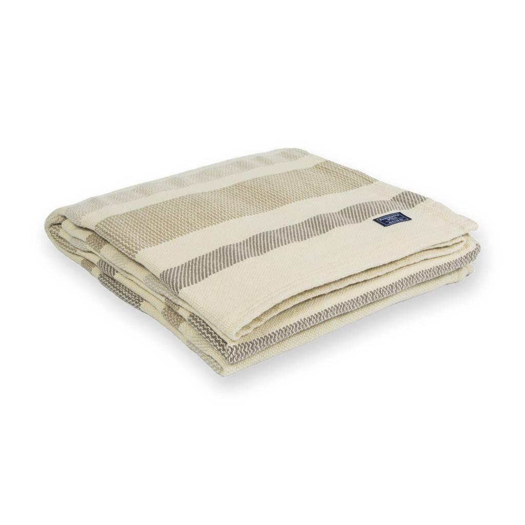 "Faribault Woolen Mill Co. Kerrick Stripe Cotton Throw, 50"" x 72 - Beige"