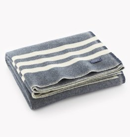 "Faribault Woolen Mill Co. Trapper Wool Throw, 50"" x 72"" - Slate/Navy"