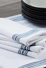 Coyuchi Farmhouse Stripe Napkins, Set of 4, Organic Cotton - Alpine White w/Midnight
