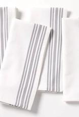 Coyuchi Farmhouse Stripe Napkins, Set of 4, Organic Cotton - Alpine White w/Deep Pewter