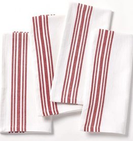 Coyuchi Farmhouse Stripe Napkins, Set of 4, Organic Cotton - Alpine White w/Crimson