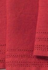 Coyuchi Linen Eyelet Napkins, Set of 4 - Crimson Red