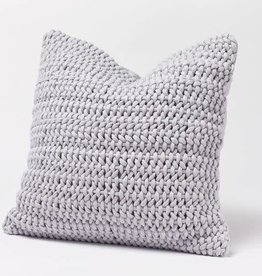 "Coyuchi Woven Rope Organic Pillow Cover, 22"" x 22"" - Pewter"
