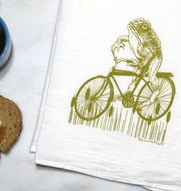 Two Little Fruits Toad on a Bike - Tea Towel