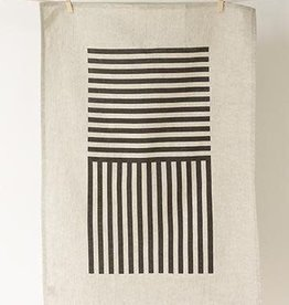 Studio Patro Simply Stripes in Noir - Linen Tea Towel