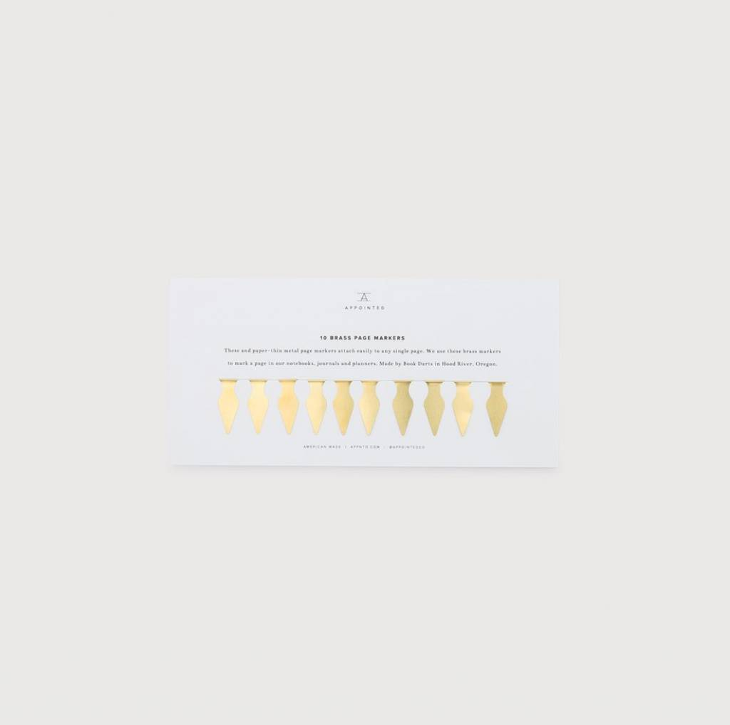 Appointed Paper Brass Page Markers, Set of 10