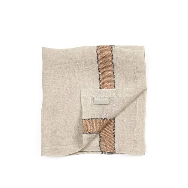 "Libeco Belgian Linens Feldhaus Linen Napkin, 16.5"" x 16.5"" - Flax Stripe"