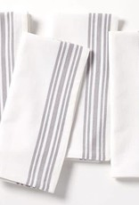 "Coyuchi Farmhouse Stripe Napkins, 20"" x 20"" - Alpine White w/ Deep Pewter"