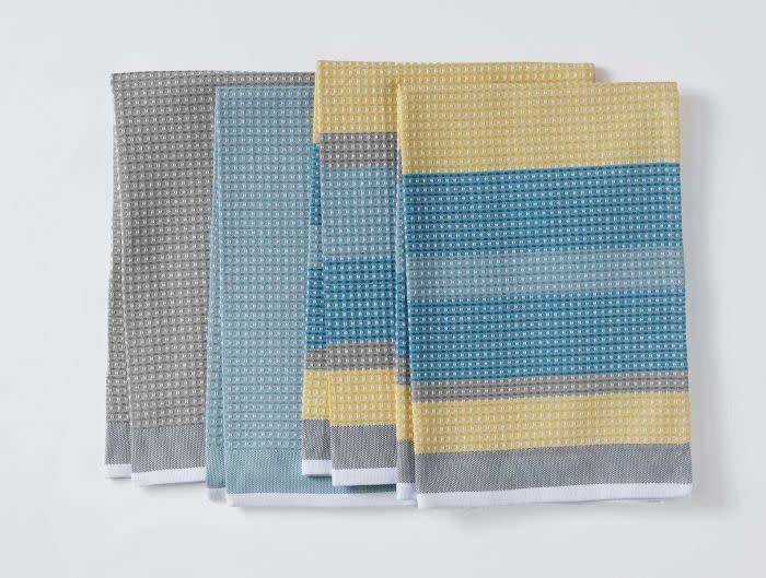 "Coyuchi Striped Waffle Organic Kitchen Towel, 20"" x 30"" - Cool"