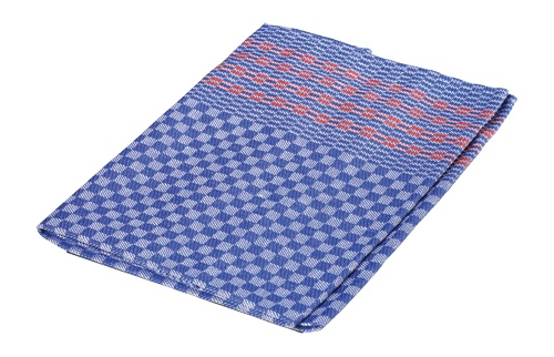 Burstenhaus Redecker Kitchen Towel, Half Linen - Blue, Red Stripe