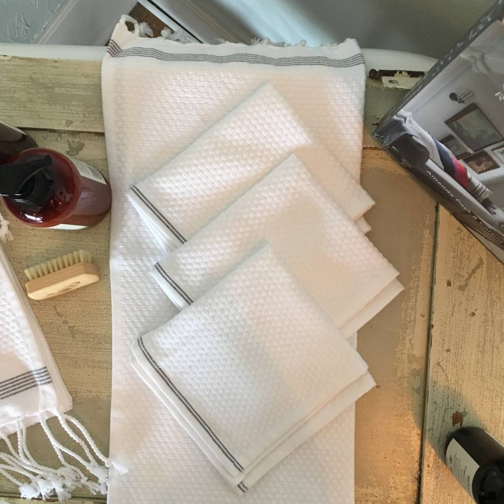 Coyuchi Mediterranean Wash Cloth - Alpine White/Slate Stripe