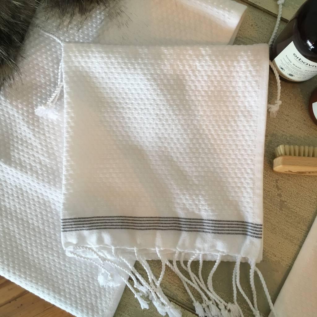 Coyuchi Mediterranean Guest Towel - Alpine White/Slate Stripe