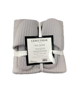 "LAUREN TAYLOR *NILSON JACQUARD KNIT THROW & SLIPPER SET 50X60"" (MP8)"