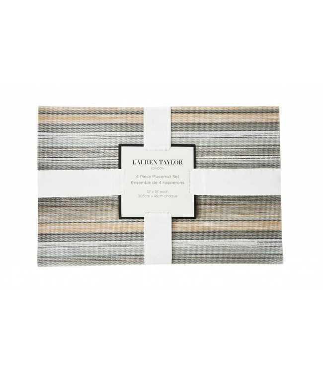 LAUREN TAYLOR 4pk PVC STRIPED PLACEMATS MULTI (MP24)