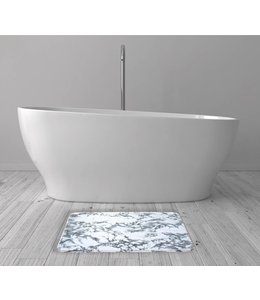 LAUREN TAYLOR MARBLE PRINTED MEMORY FOAM BATH MAT WHITE (MP12)