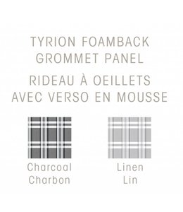 MAISON CONDELLE TYRION FAUX SILK FOAM BACK GROMMET WINDOW PANEL