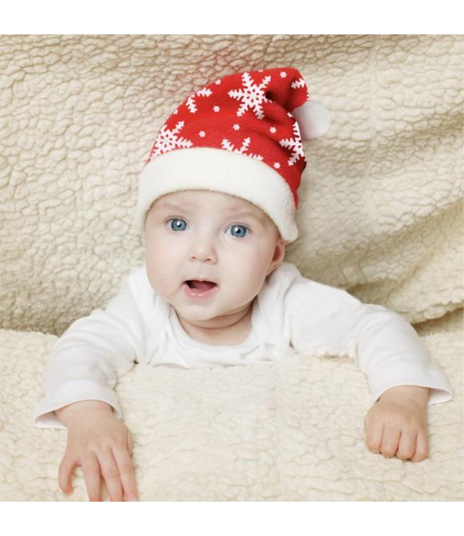 "MAISON CONDELLE PLUSH BABY BLANKET AND HAT RED/WHITE 30X30"" (MP24)"