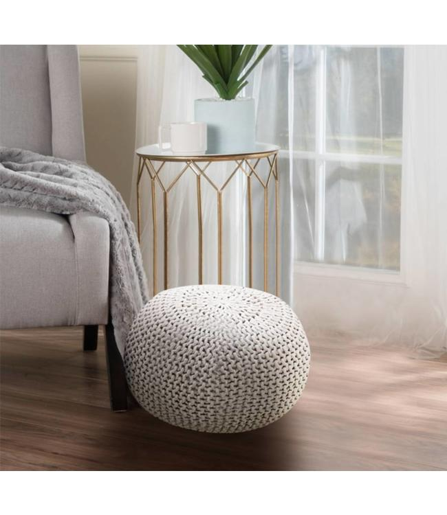 "LAUREN TAYLOR BRAIDED COTTON POUF OTTOMAN 20X14"" (MP2)"
