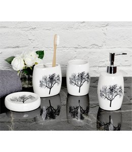 LAUREN TAYLOR TREES 4PC CERAMIC BATH ACCESSORY SET WHITE (MP12)