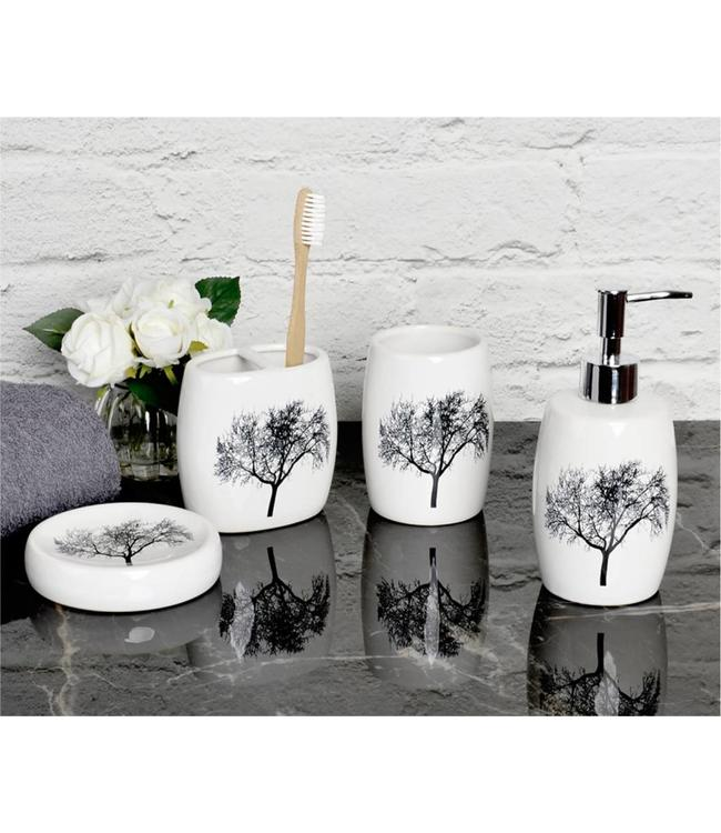 LAUREN TAYLOR *TREES 4PC CERAMIC BATH ACCESSORY SET WHITE (MP12)