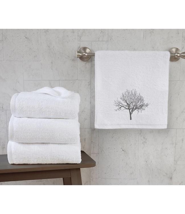 """LAUREN TAYLOR TREES 2PC GUEST TOWEL SET WHITE 16X20"""" (MP12)"""