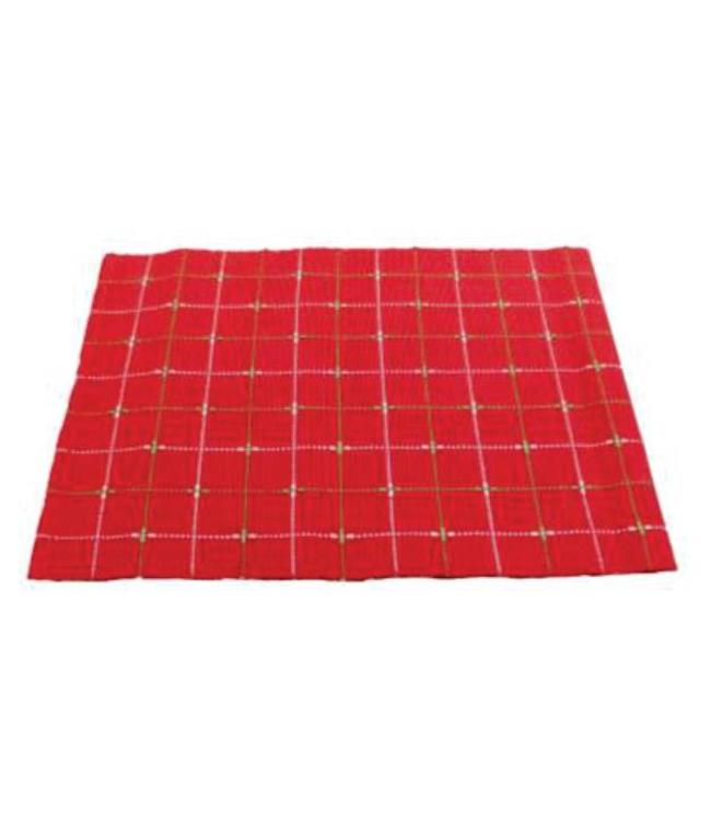 """HOLIDAY DOBBY 4PK PLACEMAT RED 13X19"""""""
