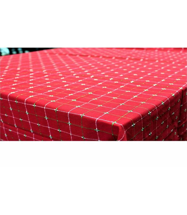 HOLIDAY DOBBY TABLECLOTH RED 60X84""